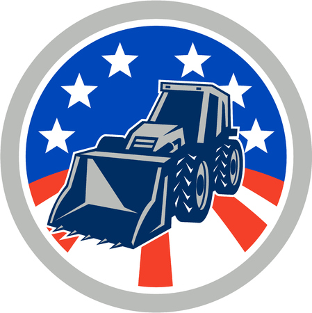 digger: Illustration of a construction digger mechanical excavator set inside circle with American stars and stripes flag done in retro style . Illustration