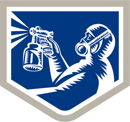paint gun: Illustration of spray painter holding paint spray gun spraying set inside shield crest on isolated background done in retro style.