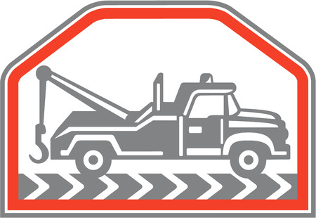 Illustration of a tow wrecker truck lorry viewed from rear set inside hexagon shape done in retro style on isolated . Vector