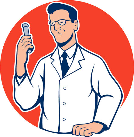 researcher: Illustration of scientist laboratory researcher chemist holding test tube done in cartoon style.