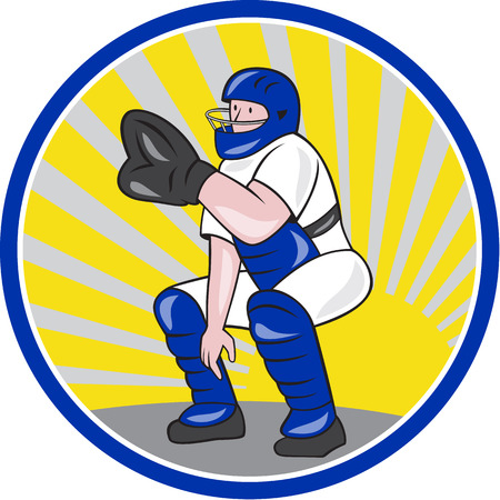 catcher baseball: Illustration d'un receveur de baseball attraper accroupi face � un style de bande dessin�e d'avant fait isol� sur fond blanc plac� le cercle int�rieur