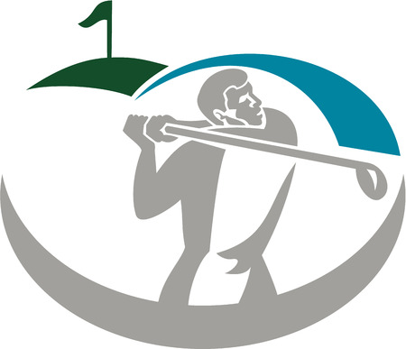 golfer swinging: Illustration of a golfer playing golf swinging club tee off set on isolated background done in retro style. Illustration