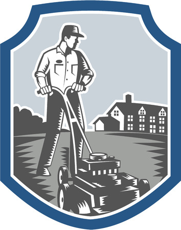 lawn mowing: Illustration of male gardener mowing with lawn mower facing front set inside shield crest with house in background done in retro woodcut style.