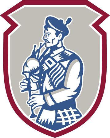 gaita: Ilustraci�n de un gaitero escoc�s tocando la gaita, vista desde lado dentro cresta escudo en el fondo aislado hecho en estilo retro grabado en madera Vectores