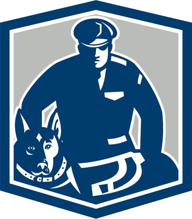 perro policia: Ilustración de un guardia de seguridad oficial de policía del policía canina con perros policía frente al frente fijó dentro cresta escudo sobre fondo aislado hecho en estilo retro