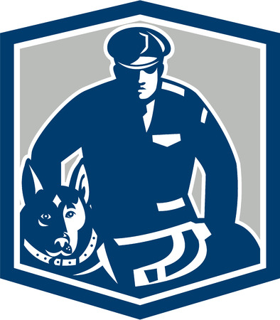 Illustration of a canine policeman police officer security guard with police dog with facing front set inside shield crest on isolated background done in retro style