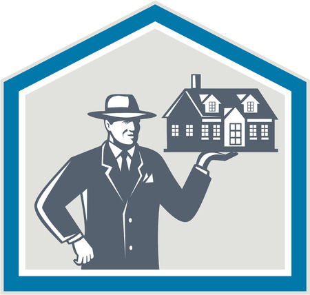 shiled: Illustration of real estate salesman sales agent wearing hat holding a house on his hand set inside shiled on isolated background done in retro style  Illustration