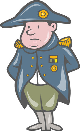 napoleon bonaparte: Illustration of a French military general with hands behind back facing front done in cartoon style on isolated background