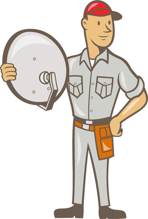 Illustration of a cable tv installer guy holding satellite dish viewed from front done in cartoon style on isolated white