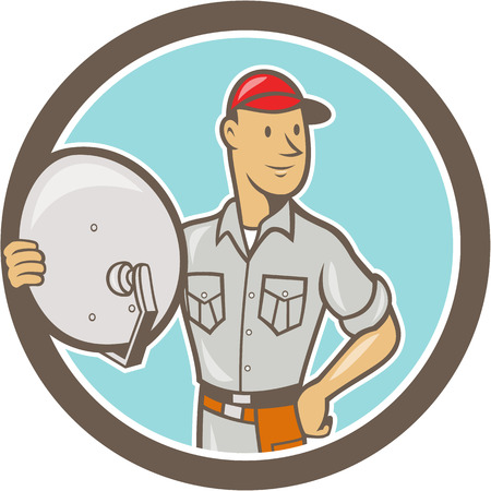 Illustration of a cable tv installer guy holding satellite dish viewed from front set inside circle done in cartoon style on isolated white