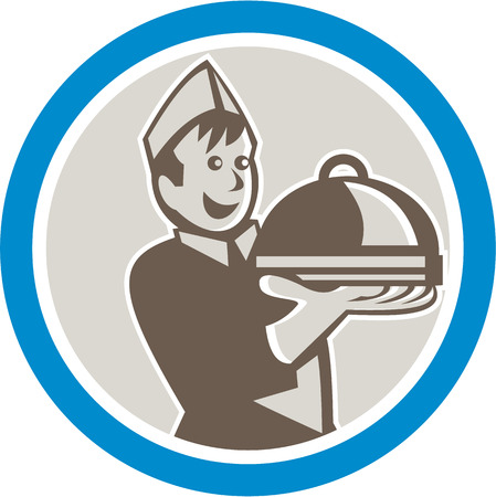 platter: Illustration of a waiter holding serving plate platter of food facing front set inside circle on isolated background done in retro style