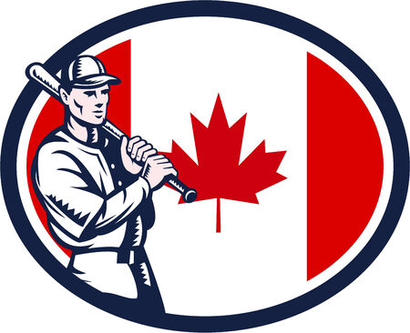 hitter: Illustration of a Canadian baseball player batter hitter holding bat on shoulder set inside oval shape with Canada maple leaf flag done in retro woodcut style isolated on white background. Illustration