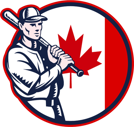 hitter: Illustration of a Canadian baseball player batter hitter holding bat on shoulder set inside circle with Canada maple leaf flag done in retro woodcut style isolated on white background.