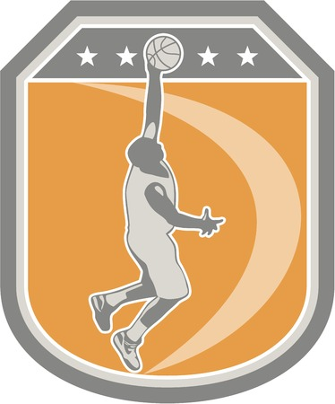 Illustration of a basketball player dunking rebounding ball set inside shield crest with stars done in retro style on isolated background.