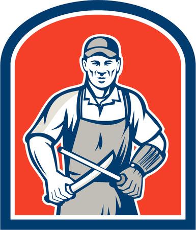 Illustration of a butcher cutter worker sharpening knife facing front set inside shield crest on isolated background. Vector
