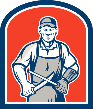 sharpening: Illustration of a butcher cutter worker sharpening knife facing front set inside shield crest on isolated background.