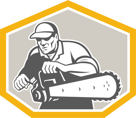 Illustration of lumberjack arborist tree surgeon holding a chainsaw set inside crest shield shape facing front on isolated white background done in retro style. Vector