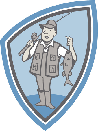 fly fisherman: Illustration of a fly fisherman showing fish fatch holding rod and reel done in cartoon style set inside shield crest.