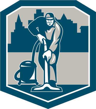 Illustration of a janitor carpet cleaner worker vacuuming with vacuum cleaner carpet cleaning machine viewed from front with buildings set inside shield done in retro style.