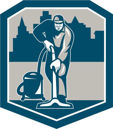 vacuuming: Illustrazione di un pulitore lavoratore bidello della moquette aspirapolvere con aspirapolvere macchina pulizia della moquette visto dalla parte anteriore con edifici posti all'interno scudo fatto in stile retr�. Vettoriali
