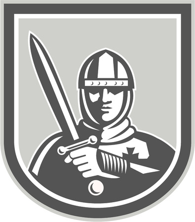 brandishing: Illustration of crusader knight in full armor brandishing a sword set inside shield crest facing front on isolated background done in retro style. Illustration