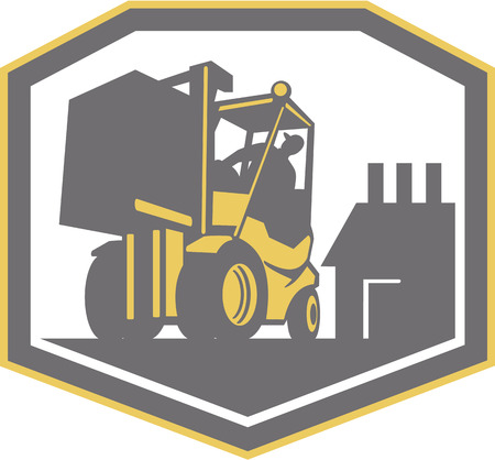 forklift truck: Illustration of a forklift truck and driver at work lifting handling box crate with logistics warehouse factory in background done in retro style inside shield crest shape.
