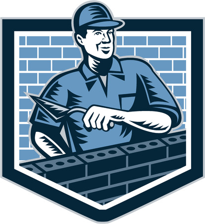 mason: Illustration of a brick layer tiler plasterer mason masonry construction worker with trowel done in retro style.