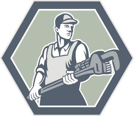 Illustratie van een loodgieter met loodgieterswerk moersleutel set binnen zeshoek geconfronteerd voorzijde gedaan in retro houtsnede stijl op geïsoleerde achtergrond. Stock Illustratie