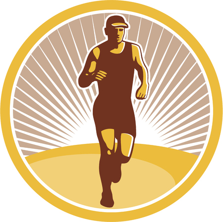 triathlete: Illustration of marathon triathlete runner running facing front view set inside circle on isolated done in retro style.