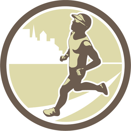 triathlete: Illustration of triathlete marathon runner running facing side view with buildings in background set inside circle on isolated done in retro style. Illustration