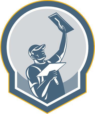 Ilustración de un trabajador de la construcción de mampostería yesero comerciante con la paleta hecha en estilo retro en el fondo aislado Ilustración de vector