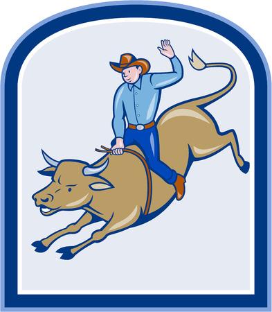 bucking bull: Illustration of rodeo cowboy riding bucking bull on isolated white background. Illustration