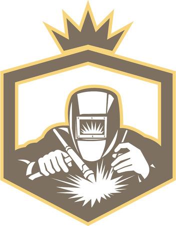 soldador: Ilustración del trabajador soldador que trabaja utilizando soplete vistos de frente, dentro de escudo en el fondo aislado hecho en estilo retro.