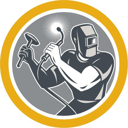 Illustratie van de lasser working met lastoorts bedrijf hamer van voren gezien set binnen cirkel op witte achtergrond gedaan in retro stijl.