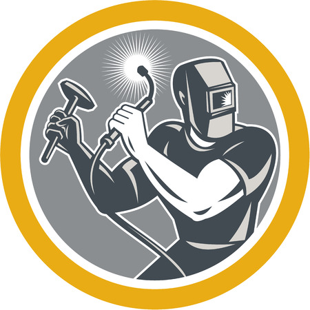 soldadura: Ilustración del trabajador soldador que trabaja utilizando soplete celebración martillo visto de frente fijó el círculo interior en el fondo aislado hecho en estilo retro.