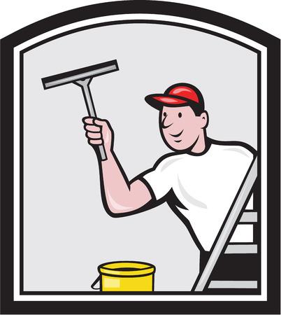 Illustrazione di un lavavetri pulizia di una finestra con spatola visti da angolo posteriore impostato all'interno scudo su sfondo isolato fatto in stile retrò.