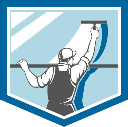 Illustration of a window washer cleaner cleaning a window with squeegee viewed from rear angle set inside shield on isolated background done in retro style.
