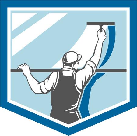 cleaning window: Illustrazione di una pulizia di una finestra con spatola visto dal punto di vista posteriore set all'interno scudo isolato su sfondo fatto in stile retr� detergente lavavetri.
