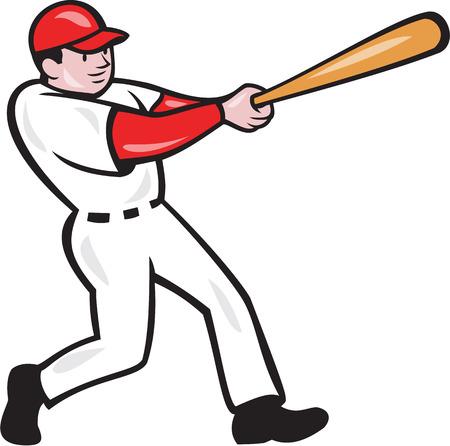 흰색 배경에 고립 된 만화 스타일을 이루어 박쥐와 미국의 야구 선수 타자 타자 타자의 그림입니다.