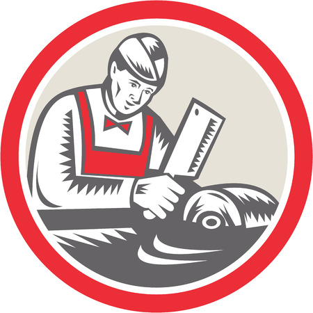 the cleaver: Illustration of a butcher cutter worker with meat cleaver knife facing side set inside circle on isolated background done in retro style.