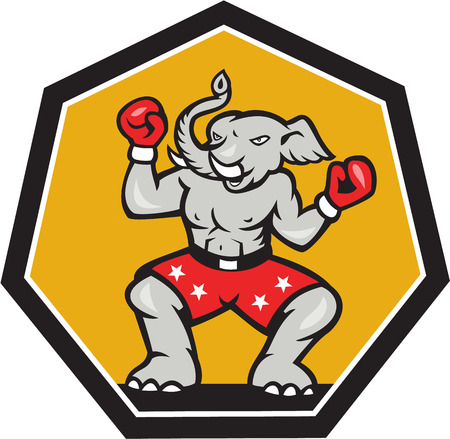 republican elephant: Illustration of a republican elephant mascot boxer boxing with gloves set inside shield pentagon shape done in cartoon style.