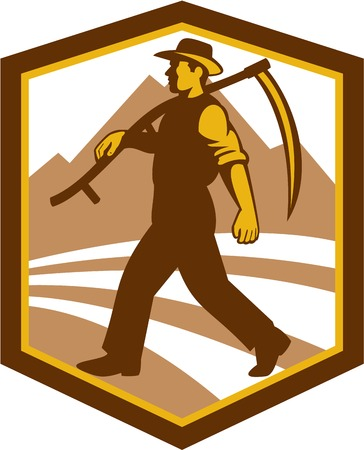 scythe: Illustration of a farmer farm worker holding scythe walking facing side set inside shield crest on isolated background done in retro style. Illustration
