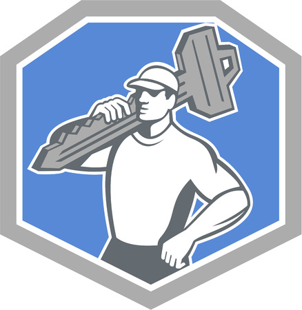 Illustration of a locksmith standing front side view carrying key on shoulder set inside shield  crest on isolated background done in retro style 일러스트