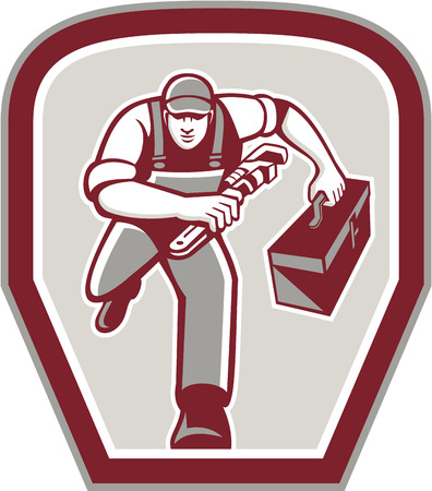 towards: Illustration of a plumber carrying toolbox and holding monkey wrench running towards viewer set inside shield done in retro style on isolated background. Illustration