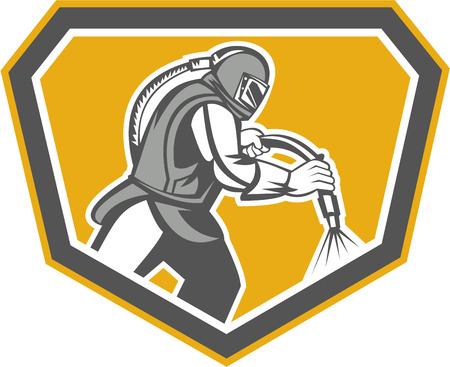 visor: Illustration of a sandblaster worker holding sandblasting hose wearing helmet visor set inside shield crest shape done in retro style.