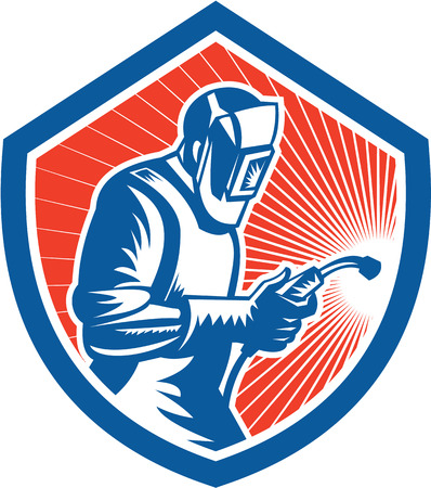 Illustration of welder worker working using welding torch viewed from side set inside shield on isolated background done in retro style. Vettoriali