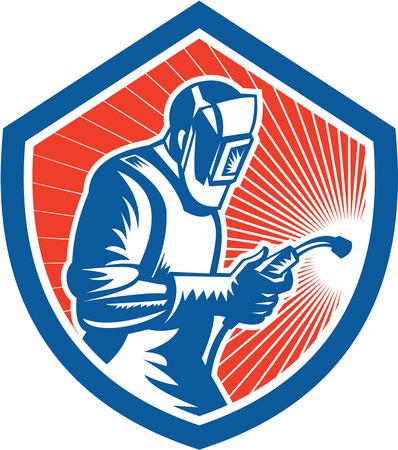 soldador: Ilustración del trabajador soldador que trabaja utilizando soplete visto desde el lado establece dentro escudo sobre fondo aislado hecho en estilo retro.