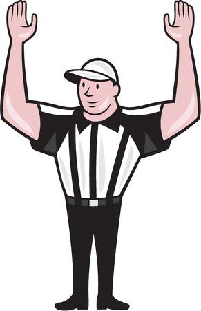 arbitros: Ilustración de una pelota de fútbol árbitro oficial americano con la mano apuntando hacia arriba la señal para un touchdown frente al frente fijó en el fondo aislado hecho en estilo de dibujos animados.