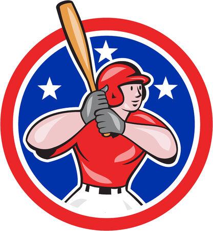 bateo: Ilustraci�n de un bateo del jugador de b�isbol dentro de c�rculo forma con las estrellas en el fondo aislado hecho en estilo de dibujos animados.