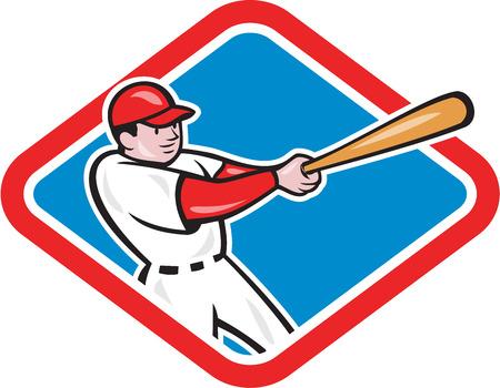 bateo: Ilustraci�n de un jugador de b�isbol bateo establece dentro de la forma del diamante en el fondo aislado hecho en estilo de dibujos animados.